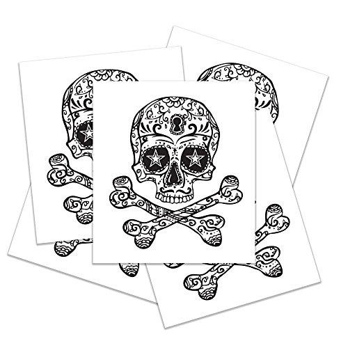 Temporary Halloween Tattoo Set - Realistic Skull Semi-Permanent Tattoo - Skull & Crossbones Tattoo - Includes 5 Temporary Tattoos - 1.25