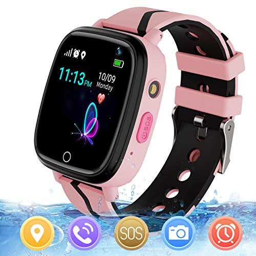 MeritSoar Kids Smart Watch with GPS Tracker SOS Camera Game 1.44 inch Touch Screen Sport Smartwatch Camera Cell Phone Girls Boys for iOS & Android (Pink) from MeritSoar