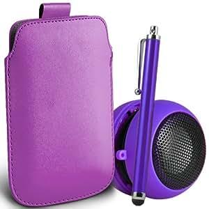 ONX3 4-IN-1 BUMPER SET REGALO - Alcatel One Touch Hero PU Tire Tab Funda protectora, 3.5MM portátil Mini altavoz de la cápsula, de alta capacitivo Stylus Pen & LCD Protector de pantalla (púrpura)