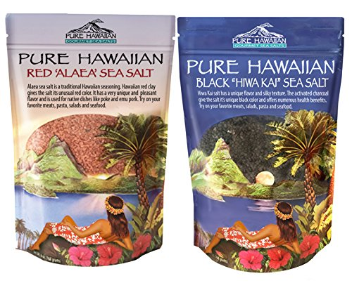 Red Hawiian Alaea Sea Salt and Black Hawaiian Hiwa Kai Sea Salt 2 Pack Set - Course Grain by La Selva Beach Spice Co.