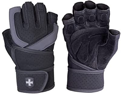 Harbinger 1250 Training Grip WristWrap Glove,Black/Grey by Harbinger