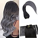 Ugeat 18inch/45cm 7 Pcs 120 Gram Silky Straight Clip In Human Hair Extensions Ombre Clip Hair Extensions Color Off Black #1B Fading to Silver Color