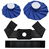 2-Size Ice Bags w/ Wrap Around Velcro Extension Band, Refillable Instant Ice Pack for Sports Injuries, Hot & Cold Therapy for Headaches Hip Shoulder Back Knee Pain Relief