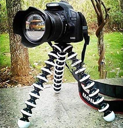 OAHU® Gorillapod Tripod Stand with Mobile Monopod Mount Adapter Universal Foldable Rotatable Point Rubbergrip for DSLR Camera's,GoPro,Mobile 10-inch Height (White and Black)