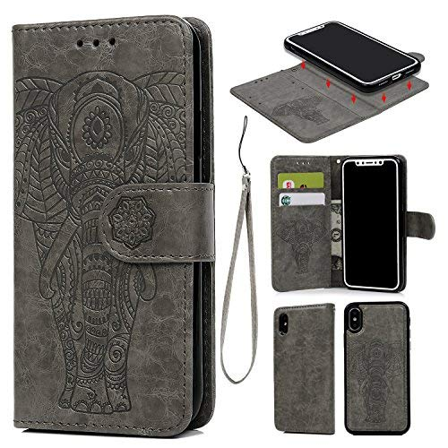 iPhone X Case, iPhone Xs Wallet Case Premium PU Leather Oil Wax Embossed Elephant Detachable Magnetic Cover Credit Card Cash Slots Cover for iPhone X/XS (Elephant Gray)