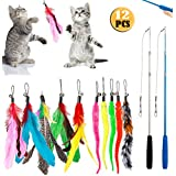 DILISS Feather Teaser Cat Toy, 2PCS Retractable Cat Wand Toys and 10PCS Replacement Teaser with Bell Refills, Interactive Catcher Teaser and Funny Exercise for Kitten or Cats