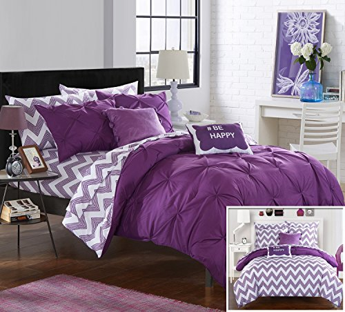 Chic Home 7 Piece Louisville Pinch Pleated and Ruffled Chevron Print Reversible Bed In a Bag Comforter Set Sheets, Twin X-Large, Purple