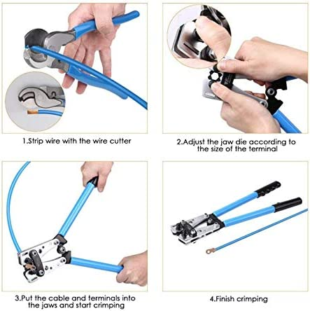 No-branded Crimper 6-50mm2 1-10AWG wire cable crimpercable lug crimping tool wire crimper hand ratchet terminal crimp pliers TP-0309 MDYHJDHYQ (Color : 001) 001