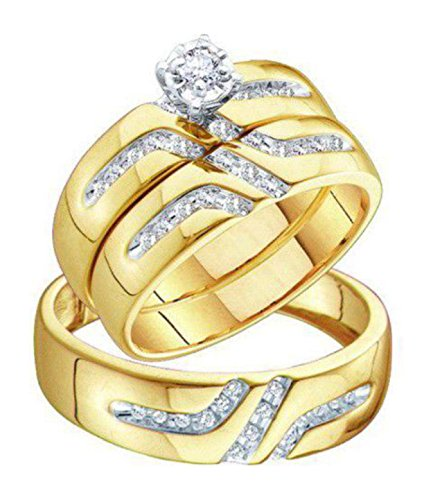 0.3 cttw 10k Yellow Gold Diamond His and Hers Wedding Ring Sets Trio Bridal Sets (Sizes 3-11)