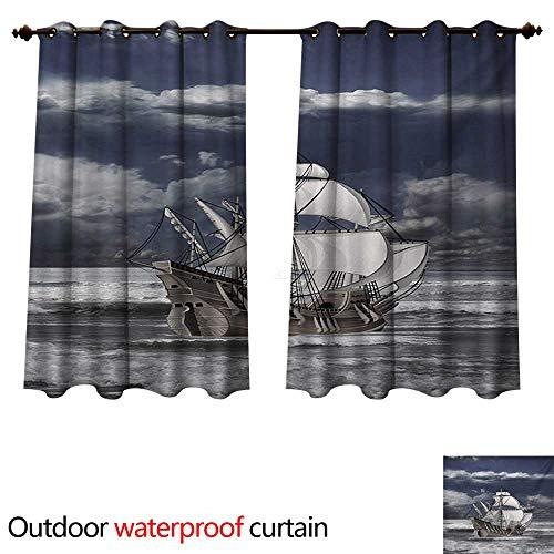 WilliamsDecor Landscape Outdoor Curtain for Patio Cloudy Sky Caribbean Pirates Ship Oil Print Like Art Image W108 x L72(274cm x 183cm)