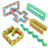 Ganowo 6PCS Fidget Sensory Toys Wacky Tracks Snake Cube Twist Puzzle for Kids Party Favors