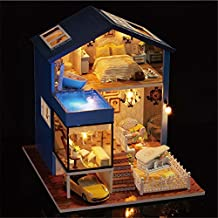 Hongxin DIY Doll House Wooden Miniatura Dollhouse Miniature Doll House With Furniture Kit Villa LED Lights Birthday Festive Collection Gift Mini House Toy