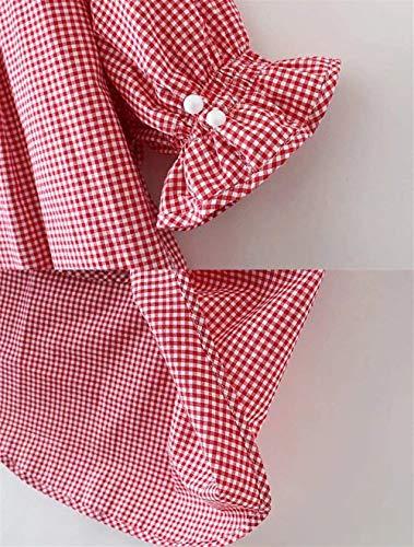 Asymtrique Tunique Et Chic Rouge Courtes Costume Blouse Chemise Mode V Bouffant Dsinvolte Femme Dame Irrgulier Manches Cou Elgante Haut Shirt Carreaux wvZqqYzxnp