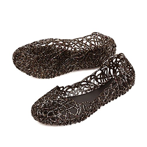 Plastic Shoes Out Hollow Women Black Jelly Ballet Flat Sandals Hattie Soft w0SIIf