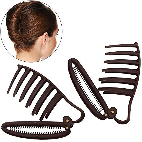 2pcs Women DIY Fast Styling Volume Insets Hair Clip Boost Comb French Twist Maker Fast Volume Twist Hair Boost Comb Hair Up Maker Tool Set (Dark brown)