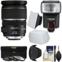 Canon EF-S 17-55mm f/2.8 IS USM Zoom Lens with Flash + 3 Filters + Diffusers + Hood Kit for EOS 7D, 77D, 80D, Rebel T6, T6i, T6s, T7i, SL1, SL2 Camera