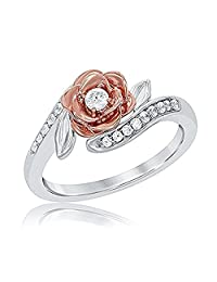Lovely 1/4ctw Disney Belles 14K Rose and White Gold Plated White CZ Diamond Fashion Ring
