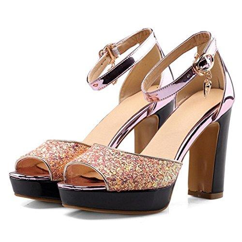 Schuhe COOLCEPT Sandalen Blockabsatz Pink Damen Mode qx1w07TR