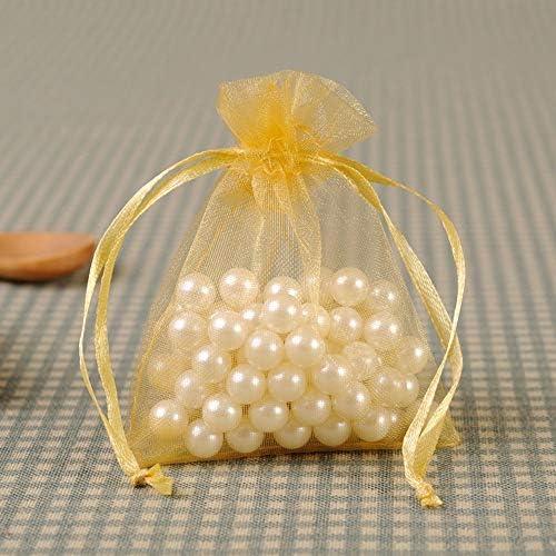 ギフトバッグ-100バッグの飾りバッグビームポートキャンディバッグ、オーガンザプレーンオーガンザバッグ、細かい袋、保存、整理袋、クリスマスの装飾メッシュ 繊細 (Color : Yellow, Size : 25cm)