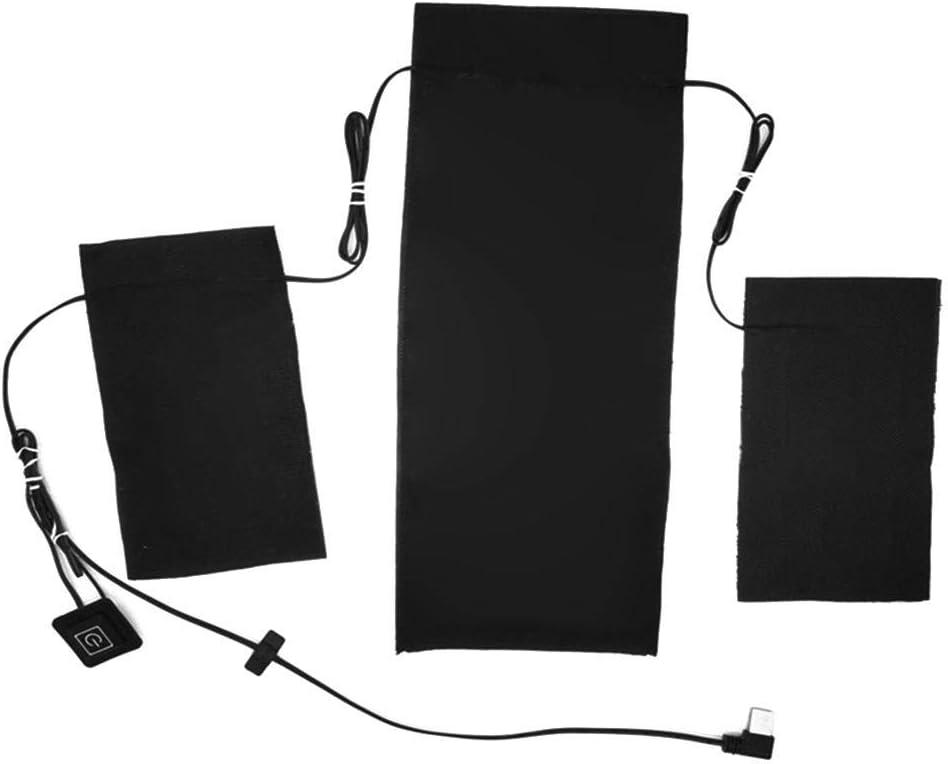 Almohadilla térmica portátil, Hoja de Calentamiento Recargable USB 3 en 1 Almohadillas térmicas eléctricas de Fibra de Carbono a Prueba de Agua Ajustable 3 temperaturas para Chalecos de Ropa Ropa