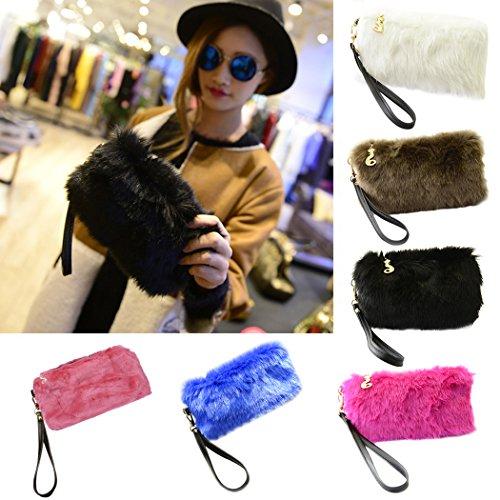 Clutch Women Bag Pink Fur Coafit Faux Dinner Party Clutch Purse q6B0qnPUCw