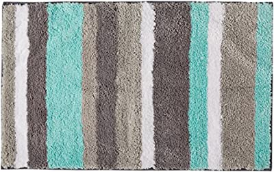 Uphome Colorful Microfiber Striped Bathroom Shower Accent Rug - Non-slip Soft Decorative Bathroom Doormat Kitchen Mat