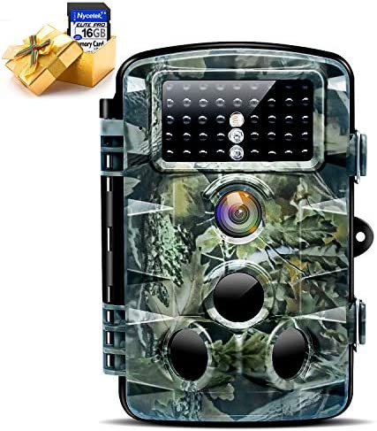 Nycetek Trail Game Camera Hunting Camera with 120 Wide Angle Night Vision 1080P 16MP Trail Camera with Low Glow and IP66 Waterproof 2.4 LCD 42pcs for Outdoor Wildlife Watching Included 16GB SD Card