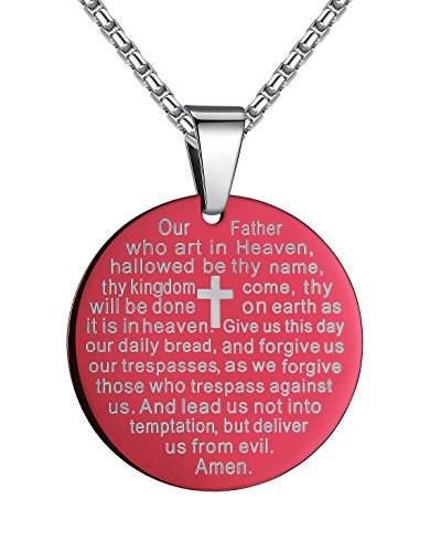 Stainless Steel Lord's Prayer and Cross Medallion Pendant Necklace, Purple,