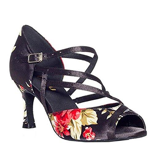 Dayiss Damen Latein Schuhe Blumenmuster Tanzschuhe mit Absatz - Standard & Latein Schwarz