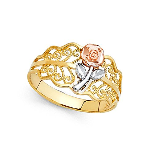 (14k Yellow White Rose Gold Rose Ring Wavy Flower Band Fancy Design Diamond Cut Solid 11MM Size 6.5 )