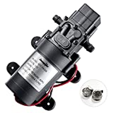 bayite 12V DC Water Pump with 2 Hose Clamps Diaphragm Pump Self Priming Sprayer Pump with Pressure Switch 4.5 L/Min 1.2 GPM 100 PSI Adjustable for RV Camper Marine Boat Lawn