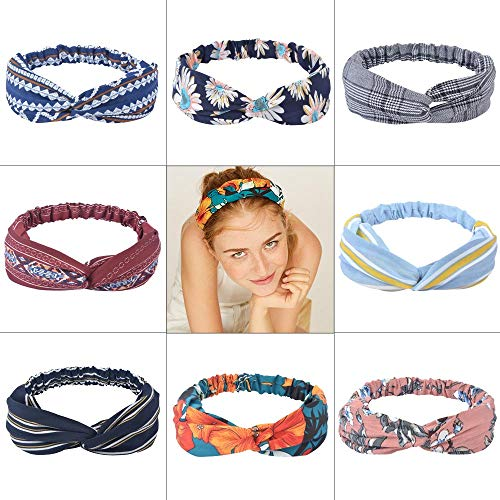 Sinland Boho Headbands for Women 8 Pack Vintage Elastic Printed Hair Band Cross Elastic Head Wrap Twisted Cute Hair Accessories