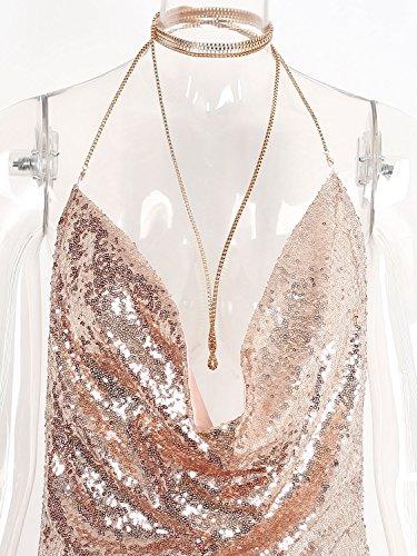 Simplee Apparel Mujer Deep V Neck Backless Clubwear vestido de fiesta de lentejuelas Mini Slip Cami Dorado