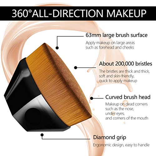 Huasida Foundation Brush Liquid Brush Make Up Brush Beauty Tools with Storage Case (Bright black)