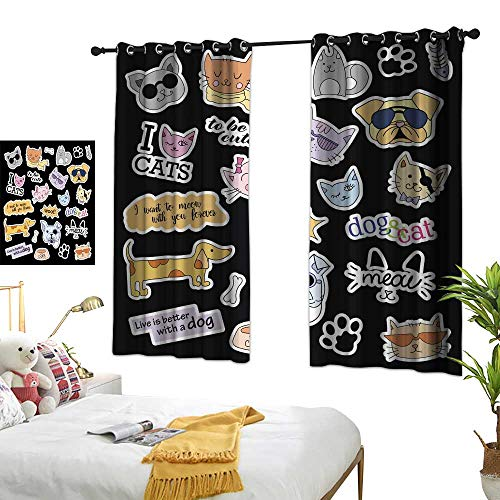 wwwhsl Home Series Design Chic Curtains Fashion Patch Badges Cats and Dogs Set Stickers pins Patches Polyester Does not Fade, Durable and not Easy to Dirty W84.2 xL72
