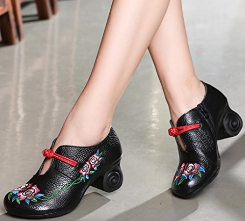 SATUKI Handmade Loafer Shoes For Women, Chinese Knot Leather Casual Mid Heel Pastoral Floral Soft Shoes Black