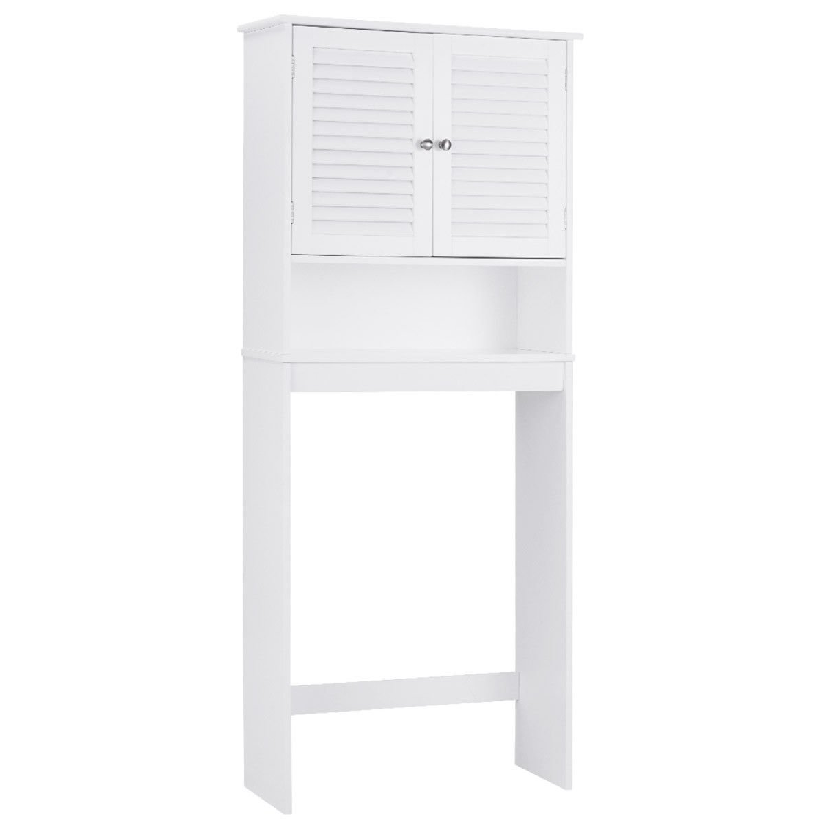 Bathroom Space Saver Over The Toilet Shelved Storage Cabinet Organizer White New
