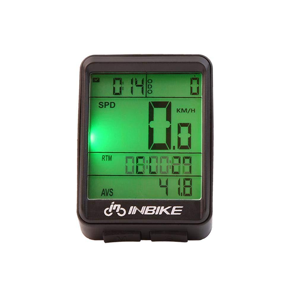 Aufee Cuentakilómetros LCD, Calibrador de velocímetro a Prueba de Agua portátil, Cuentakilómetros de Bicicleta Liviana