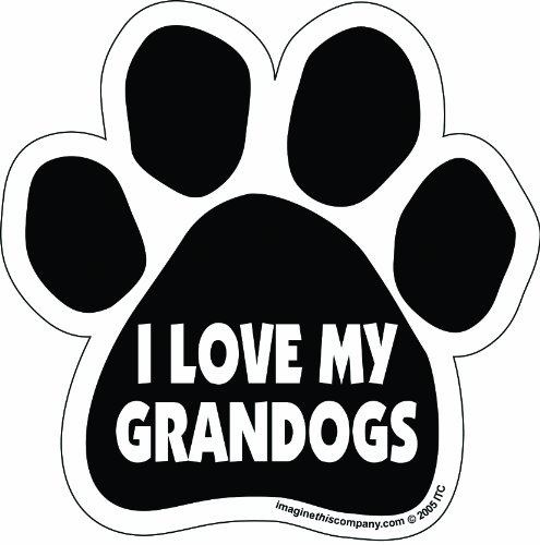 Joke Refrigerator Magnet - Imagine This Paw Car Magnet, I Love My Grandogs, 5-1/2-Inch by 5-1/2-Inch