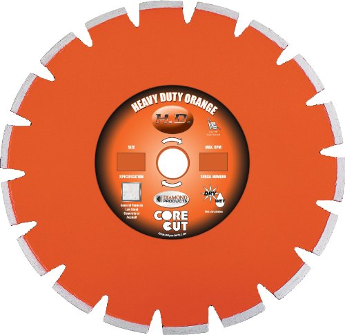 UPC 603461111997, Diamond Products Core Cut 11199 Heavy Duty Segmented Dry Walk Behind Diamond Blade, 14-Inch x 0.125-Inch x 1-Inch, Orange
