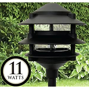 Moonrays 95725 Low Voltage 3-Tier Diecast Aluminum Path Light Fixture, Black