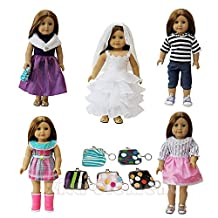 ZITA ELEMENT Doll Clothes -LOT 6= 5 Outdoor Casual Outfit /Wear +1 Handbag Fits American Girl Doll, My Life Doll, Our Generation and other 18 inch Dolls