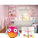 Nojo Love Birds 6 Piece Crib Bedding Set BUNDLE W Musical Mobile & Owl Plush