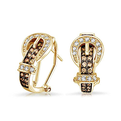 (Coffee Brown Cubic Zirconia Pave CZ Belt Buckle Stud Drop Earrings For Women Omega Back 14K Gold Plated)