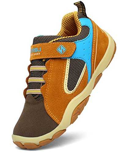 DADAWEN Kid's Outdoor Hiking Athletic Sneakers Strap Trail Running Shoes (Toddler/Little Kid/Big Kid) Brown US Size 5 M Big Kid by DADAWEN (Image #7)