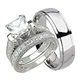 His and Hers Wedding Ring Set Matching Trio Wedding Bands for Him Her 10/9