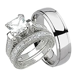 Amazon.com: His and Hers Wedding Ring Set Matching Trio