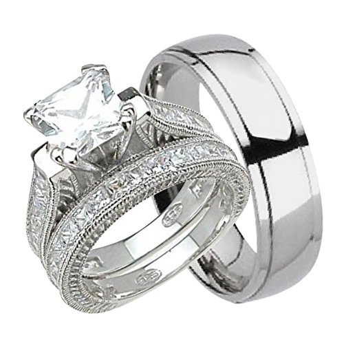 - His and Hers Wedding Ring Set Matching Trio Wedding Bands for Him Her 10/8