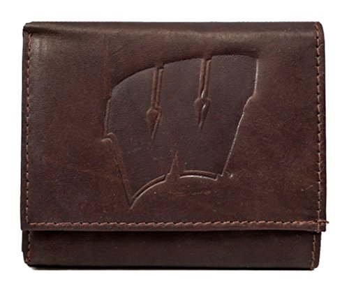 Rico Wisconsin Badgers NCAA Embossed Logo Dark Brown Leather Trifold ()