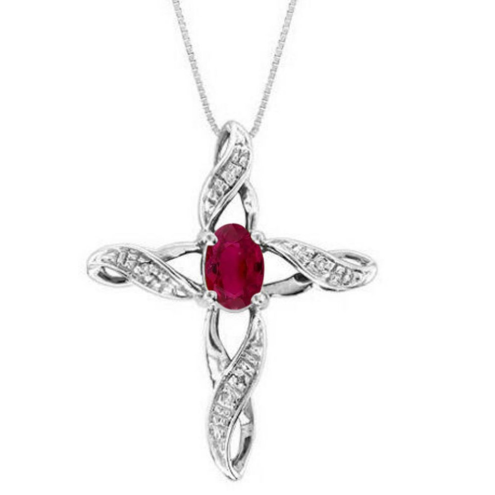 Diamond & Ruby Cross Pendant Necklace Set In Sterling Silver .925 with 18'' Chain